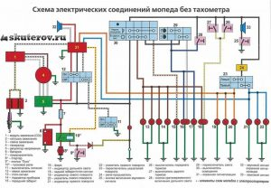Электрическая схема мопедов Дельта 50 без тахометра