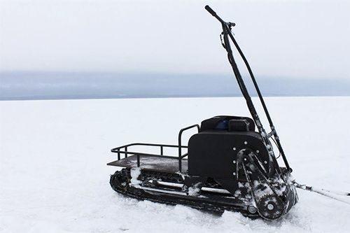 Снимок мотособаки Онего 500 9 л. с. на льду