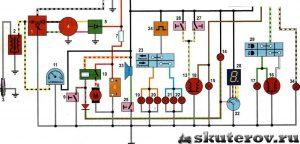 Схема электропроводки мопеда Альфа 72 куб с тахометром