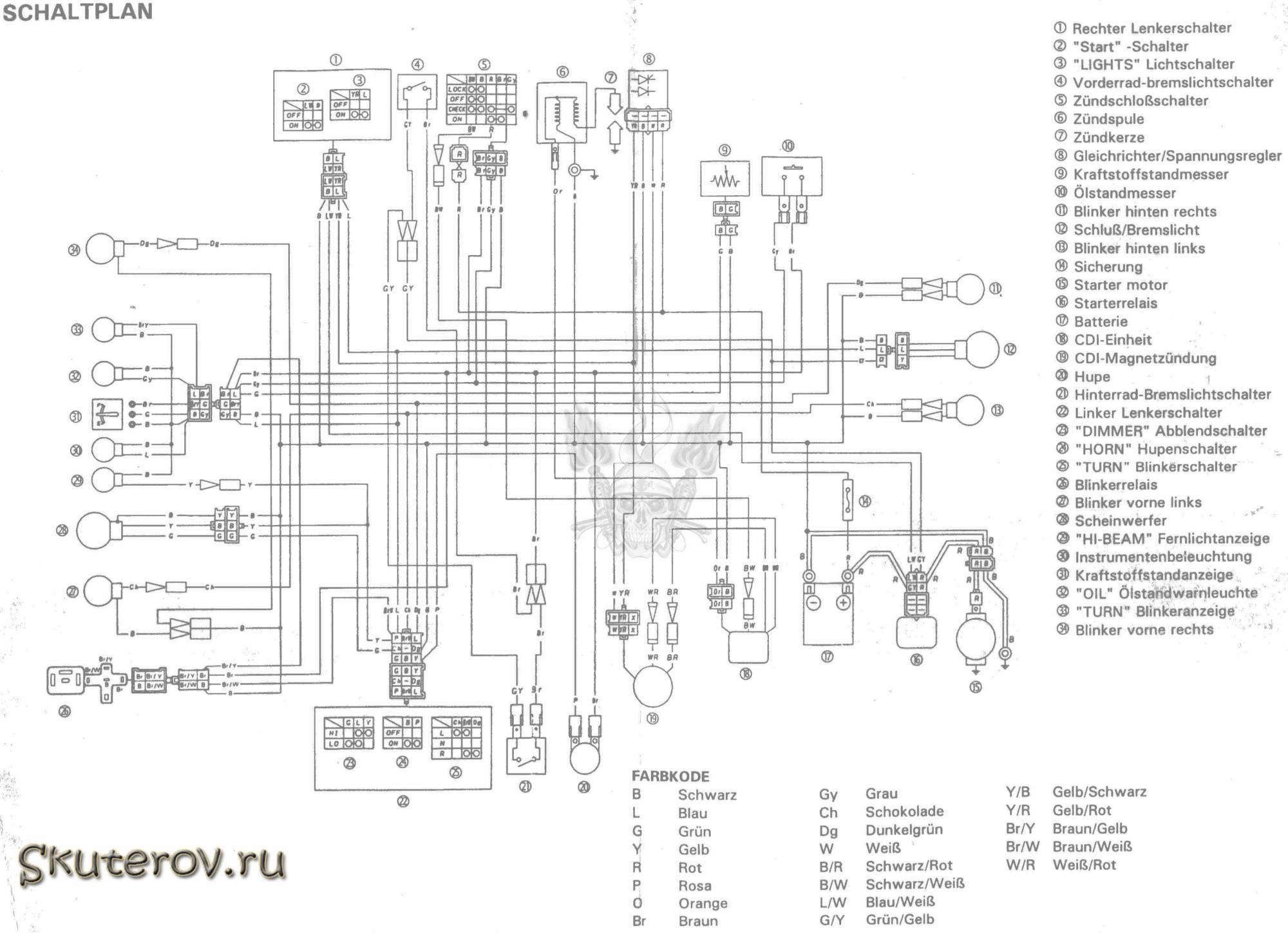 Эл схема скутера Yamaha BWS
